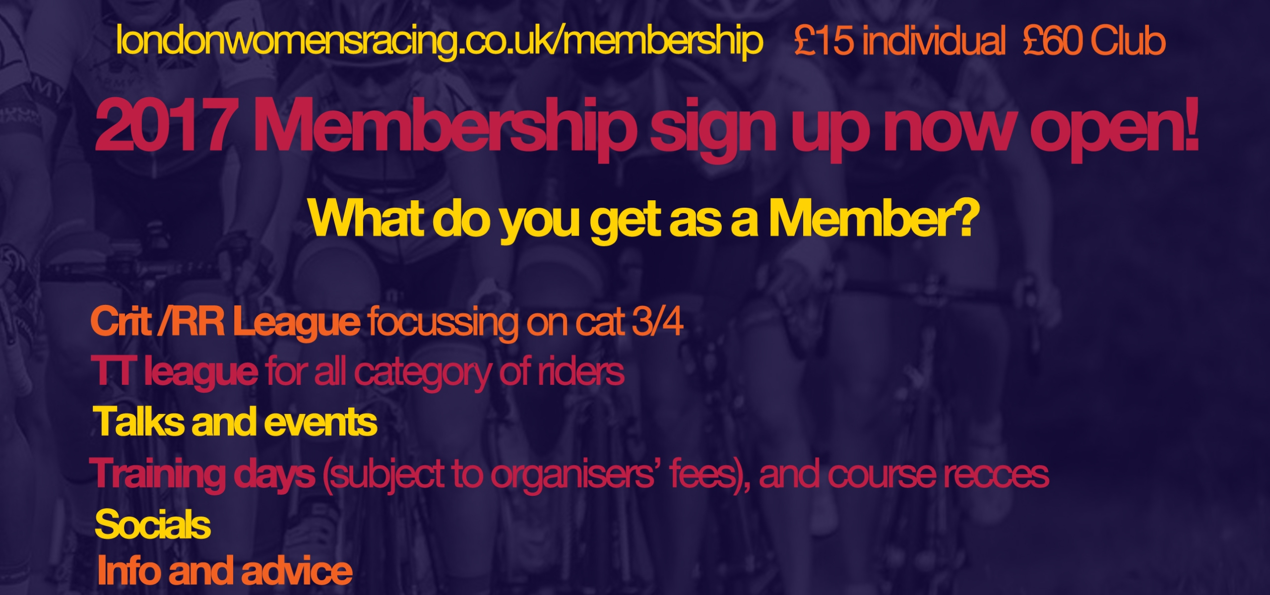 London womens racing membership graphic listing membership benefits - same as those listed in the article.